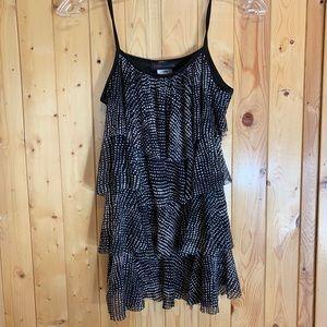 4/$25 black and white polka dot ruffle cami blouse